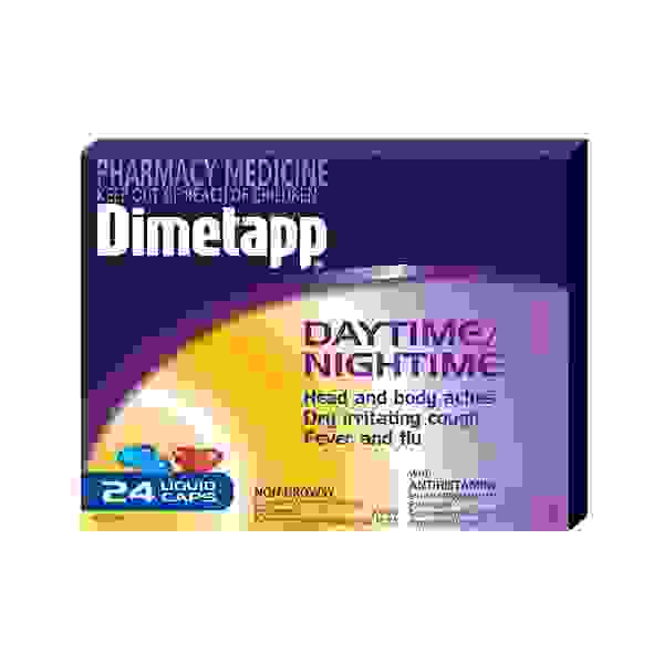 Dimetapp Daytime Nightime Cough Cold Flu PSE Free 24 Caps