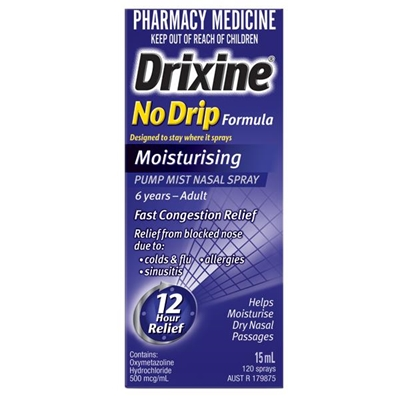 Drixine Nasal Spray Moisturising No Drip Formula 15mL 120 sprays