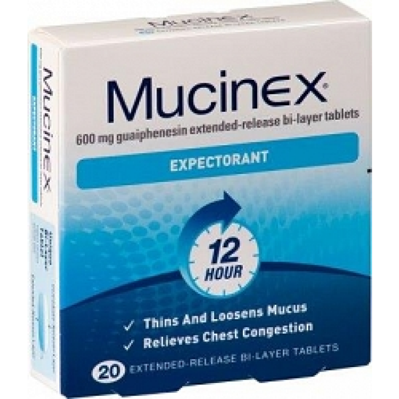 Mucinex Expectorant Extended Release Bi-layer 20 Tabs