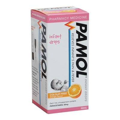 Pamol Infant Drops Colour Free 60ml