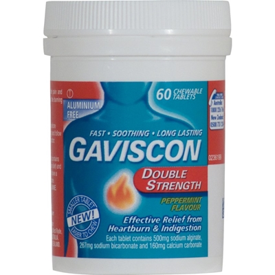 Gaviscon Double Strength Peppermint 60 Chewable Tabs