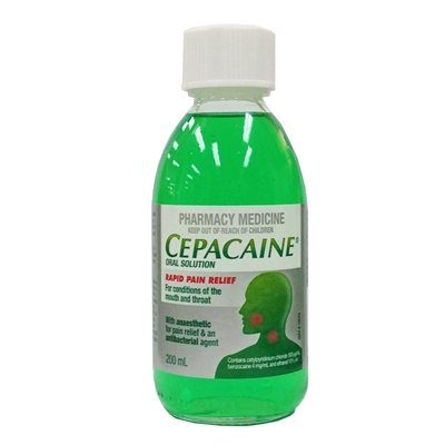 Cepacaine Oral Solution Rapid Pain Relief 200ml