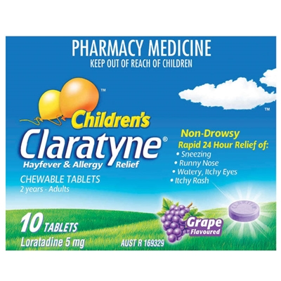 Claratyne Children's Hayfever & Allergy Relief Grape 10 Chewable Tabs